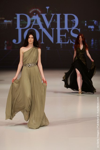 A model showcases designs by Thurley on the catwalk at the David Jones Spring/Summer 2011