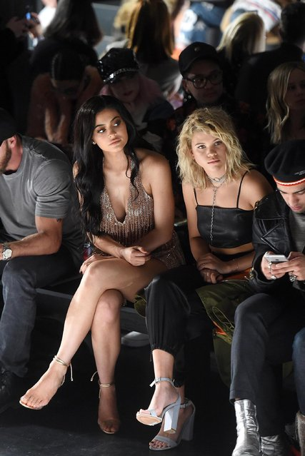 Kylie Jenner and Sofia Richie attend the Jeremy Scott collection Front Row during, New York Fashion Week: The Shows at Gallery 1, Skylight Clarkson Sq on February 10, 2017 in New York City. (Photo by Jamie McCarthy/Getty Images for New York Fashion Week)