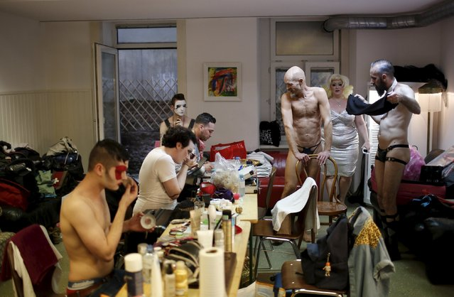 "Boylesque performers prepare before the ""Yodeling Lederhosen Boylesque Gala"" at the Boylesque Festival in Vienna, Austria, May 15, 2015. Picture taken May 15, 2015. (Photo by Leonhard Foeger/Reuters)"