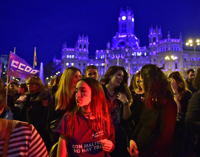 A group of women take part in a rally on the International Women's Day on March 8, 2017 in Madrid. (Photo by Gerard Julien/AFP Photo)
