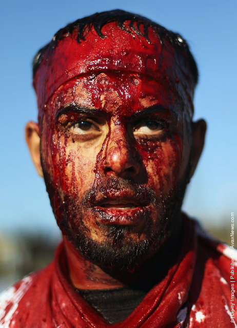 A Shi'ite worshiper bleeds after cutting his scalp in a ritual display of mourning during an Ashura commemoration ceremony outside Kadhimiya shrine in Baghdad, Iraq