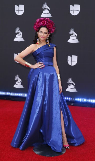 Natalia Jimenez attends the 20th annual Latin GRAMMY Awards at MGM Grand Garden Arena on November 14, 2019 in Las Vegas, Nevada. (Photo by Danny Moloshok/Reuters)