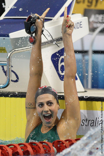 Stephanie Rice of Australia celebrates winning the Final of the Women's 400 Metre Individual Medley during day one of the Australian Olympic Swimming Trials at the South Australian Aquatic & Leisure Centre