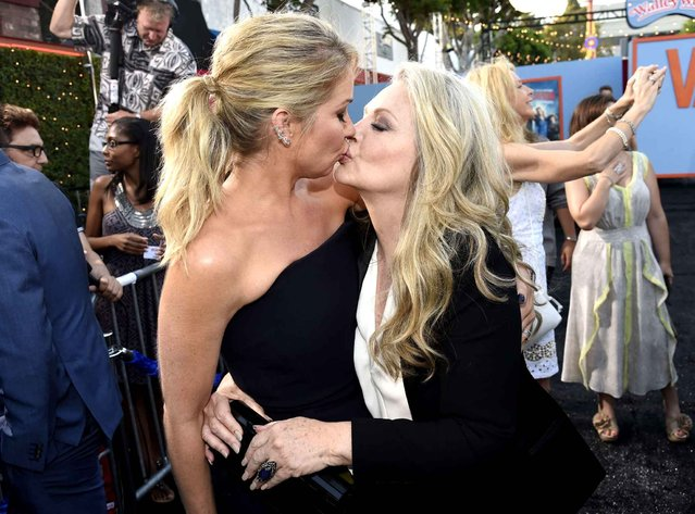 "Christina Applegate, left, and Beverly D'Angelo arrive at the Los Angeles premiere of ""Vacation"" at the Regency Village Theatre on Monday, July 27, 2015. (Photo by Chris Pizzello/Invision/AP Photo)"