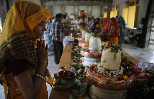 "A Hindu devotee offers prayers to a row of Shivlings, symbol of Hindu god Shiva, on ""Shravan Somwar"", in Allahabad, India, Monday, August 3, 2015. Shravan Somwar or the Monday of Hindu calendar month of Shravan is considered auspicious for offering prayers to Lord Shiva, the god of destruction. (Photo by Rajesh Kumar Singh/AP Photo)"