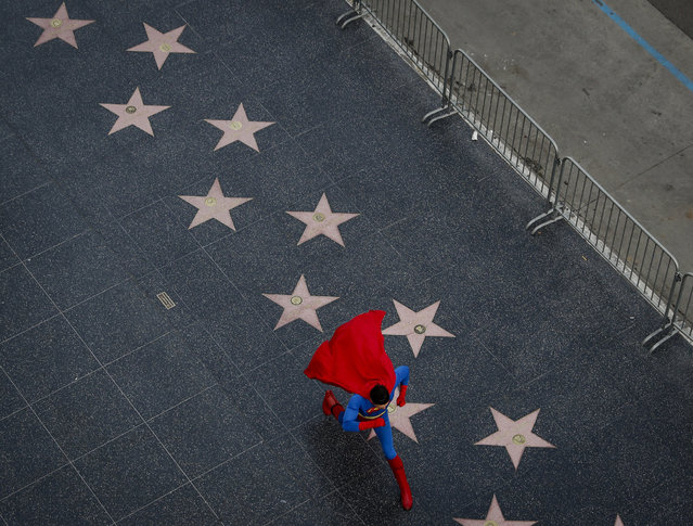 In this Thursday, March 2, 2017 photo, wearing a Superman costume, Toly Shtapenko, of Ukraine, takes a long stride along the Hollywood Walk of Fame to impress tourists, in the Hollywood section of Los Angeles. While the Hollywood we see in movies is a place of glamour and beautiful celebrities, the cast of superheroes filling Hollywood Boulevard is frequently anything but. Many are people struggling to make a buck as they pursue their dream of stardom. (Photo by Jae C. Hong/AP Photo)