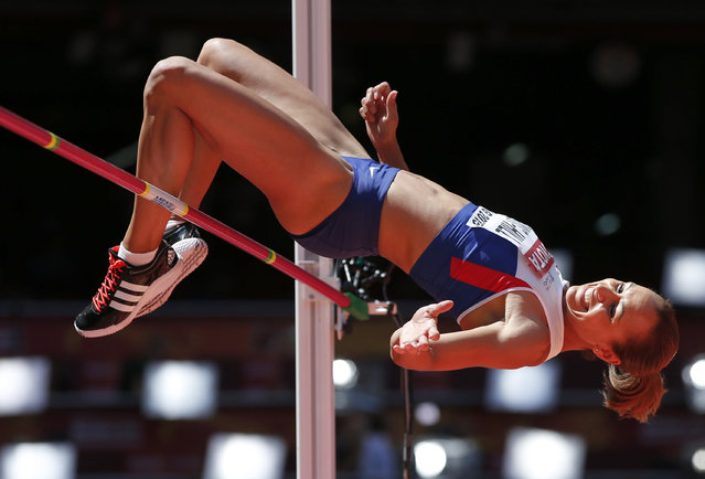 Jessica Ennis-Hill of Britain competes in the high jump event of the women's heptathlon during the 15th IAAF World Championships at the National Stadium in Beijing, China August 22, 2015. (Photo by Phil Noble/Reuters)