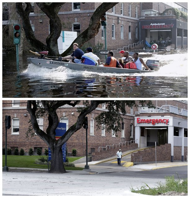 In this combination of Wednesday, August 31, 2005 and Thursday, July 30, 2015 photos, patients and staff of the Memorial Medical Center in New Orleans are evacuated by boat after flood waters surrounded the facility, and a decade later, the renamed Ochsner Baptist Hospital. Nearly 2,000 people died because of the storm, mostly in New Orleans, 80 percent of which was flooded for weeks. One million people were displaced. (Photo by Bill Haber/Gerald Herbert/AP Photo)