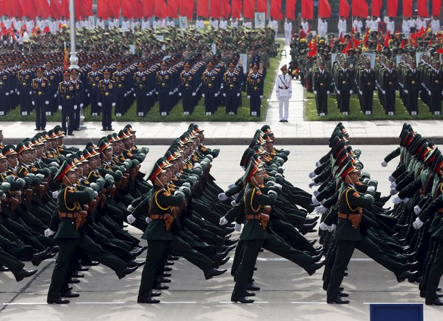 Soldiers of the army force march during a parade marking their 70th National Day at Ba Dinh square in Hanoi, Vietnam September 2, 2015. (Photo by Reuters/Kham)