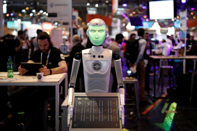 """A """"SociBot"""" humanoid robot, manufactured by Engineered Arts, is displayed at the Viva Technology conference in Paris, France on  June 15, 2017. (Photo by Benoit Tessier/Reuters)"""