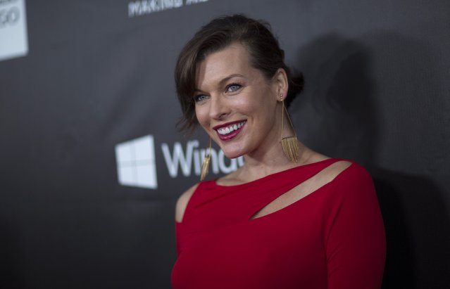Actress Milla Jovovich poses at amfAR's Fifth Annual Inspiration Gala in Los Angeles, California October 29, 2014. (Photo by Mario Anzuoni/Reuters)
