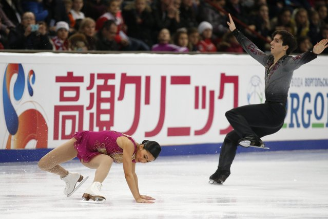 Jessica Noelle Calalang and Zack Sidhu of the U.S. perform during the pairs free skating program at the Rostelecom Cup ISU Grand Prix of Figure Skating in Moscow November 15, 2014. (Photo by Grigory Dukor/Reuters)