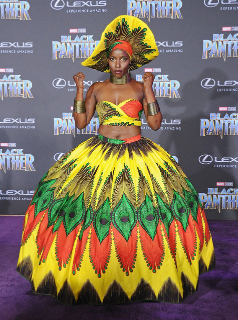 """Janeshia Adams-Ginyard attends the Los Angeles Premiere """"Black Panther"""" at Dolby Theatre on January 29, 2018 in Hollywood, California. (Photo by Jon Kopaloff/FilmMagic)"""