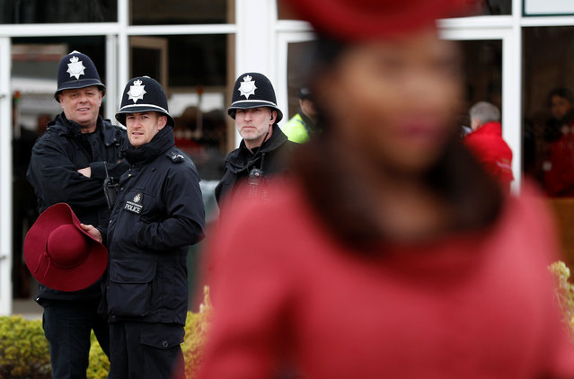 Police officers before the racing during Ladies Day of the 2018 Cheltenham Festival at Cheltenham Racecourse in Cheltenham, England on March 14, 2018. (Photo by Darren Staples/Reuters)