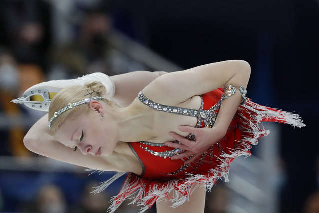 Anastasiya Galustyan of Armenia performs in the Ladies Short Program during day one of the ISU Grand Prix of Figure Skating Rostelecom Cup at Megasport Arena on November 20, 2020 in Moscow, Russia. (Photo by Evgenia Novozhenina/Reuters)