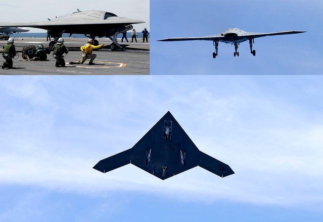 A Navy X-47B drone is launched off the nuclear powered aircraft carrier USS George H. W. Bush off the coast of Virginia. The plane isn't intended for operational use, but it will be used to help develop other unmanned, carrier-based aircraft. (Photo by Steve Helber/Associated Press)