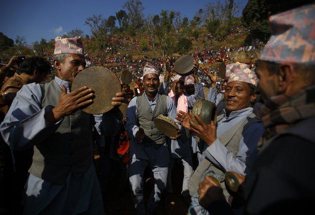 Villagers sing and dance during the Maghesangranti festival at Talukachandani village in Nuwakot district near Kathmandu January 15, 2015. (Photo by Navesh Chitrakar/Reuters)