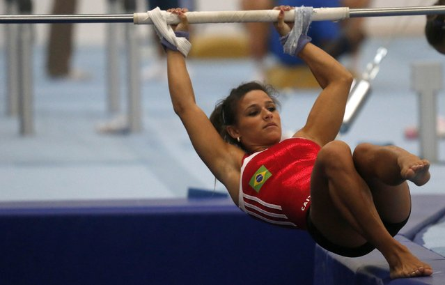 Brazilian gymnast Jade Barbosa is seen during a training session at the new Brazilian Artistic Gymnastics Center in Rio de Janeiro January 16, 2015. The Artistic Gymnastics Center is where gymnasts are preparing for the 2016 Olympics. (Photo by Sergio Moraes/Reuters)