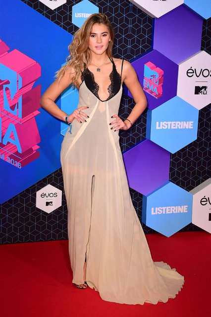 Stephanie Giesinger poses for photographers upon arrival at the MTV European Music Awards 2016 in Rotterdam, Netherlands, Sunday, November 6, 2016. (Photo by PA Wire)