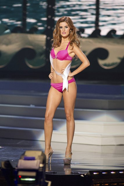 Andjelka Tomasevic, Miss Serbia 2014, competes in the swimwear competition during the Miss Universe Preliminary Show in Miami, Florida in this January 21, 2015 handout photo. (Photo by Reuters/Miss Universe Organization)