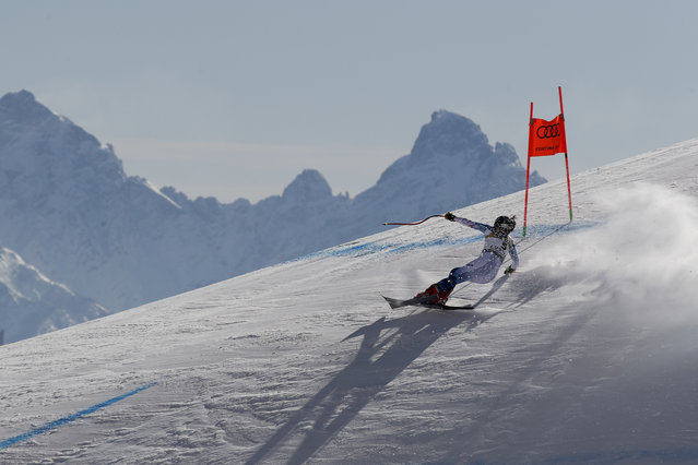 United States' Breezy Johnson speeds down the course during the women's downhill, at the alpine ski World Championships in Cortina d'Ampezzo, Italy, Saturday, February 13, 2021. (Photo by Gabriele Facciotti/AP Photo)