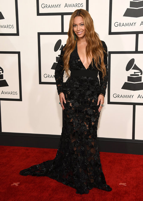 Beyonce arrives at the 57th annual Grammy Awards at the Staples Center on Sunday, February 8, 2015, in Los Angeles. (Photo by Jordan Strauss/Invision/AP Photo)