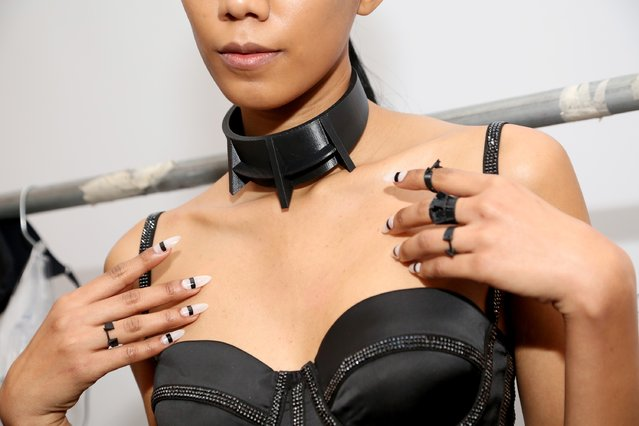 A detail of the clothing is pictured backstage at the Chromat AW15: Mindware fashion show during Mercedes-Benz Fashion Week Fall 2015 at Milk Studios on February 13, 2015 in New York City. (Photo by Monica Schipper/Getty Images for Chromat)
