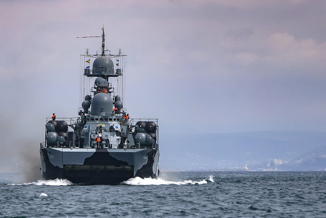 This handout photo released on Wednesday, April 14, 2021 by Russian Defense Ministry Press Service shows, A Russian navy ship is seen during navy drills in the Black Sea. Russia has insisted that it has the right to close areas of the Black Sea for foreign naval ships and rejected Ukrainian and Western criticism of the move. (Photo by Russian Defense Ministry Press Service via AP Photo)