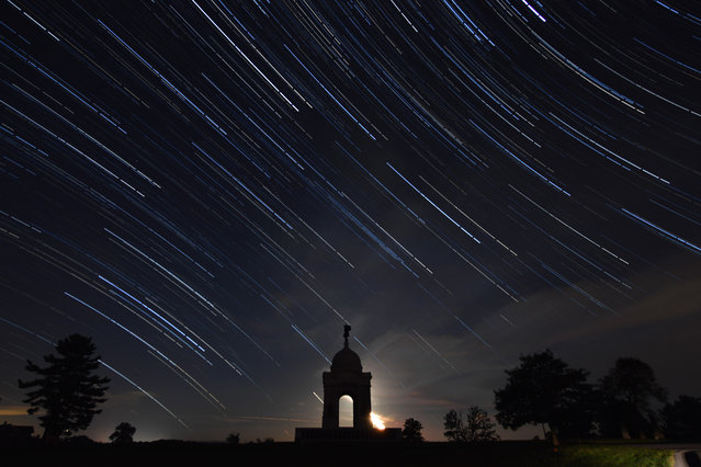 The Pennsylvania State Memorial is shown with a star trails sky above which is a composite of many photographs layered together at the Gettysburg National Military Park on August 11, 2016 in Gettysburg, Pa. (Photo by Ricky Carioti/The Washington Post)