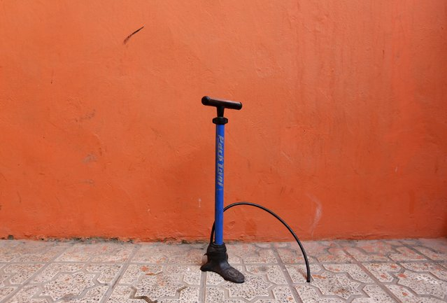 A bicycle pump is seen in Kabul February 20, 2015. (Photo by Mohammad Ismail/Reuters)