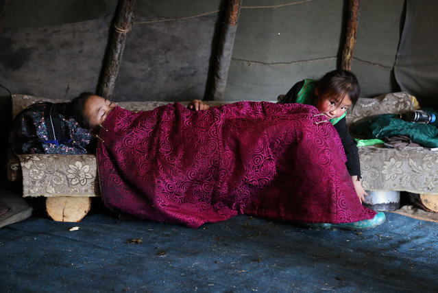 Ulziichimig, the family's youngest daughter, is about to wake her sister. (Photo by Pascal Mannaerts/Rex Feature/Shutterstock)