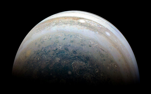 NASA's Juno spacecraft captures Jupiter's southern hemisphere, as the spacecraft performed its 13th close flyby of Jupiter on May 23, 2018. (Photo by NASA/JPL-Caltech/SwRI/MSSS/Kevin M. Gill/Handout via Reuters)