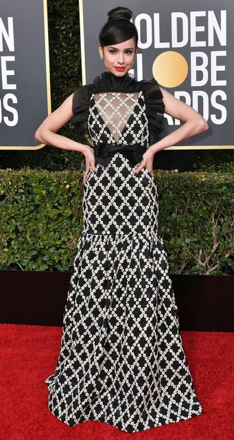 Sofia Carson attends the 76th Annual Golden Globe Awards at The Beverly Hilton Hotel on January 6, 2019 in Beverly Hills, California. (Photo by David Fisher/Rex Features/Shutterstock)