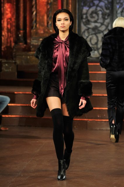 A model walks the runway during Hallie Sara – Art Hearts Fashion NYFW Fall/Winter 2016 at The Angel Orensanz Foundation on February 17, 2016 in New York City. (Photo by Kris Connor/Getty Images For Art Hearts Fashion)