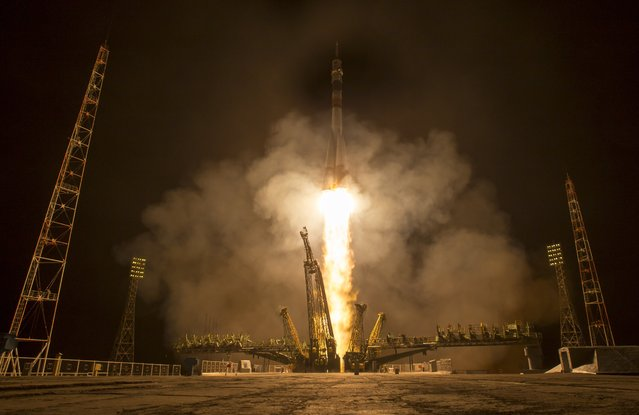 In this handout provided by NASA, the Soyuz TMA-16M spacecraft is seen as it launches to the International Space Station with Expedition 43 NASA Astronaut Scott Kelly, Russian Cosmonauts Mikhail Kornienko, and Gennady Padalka of the Russian Federal Space Agency (Roscosmos) onboard Saturday, March 28, 2015, Kazakh time (March 27 Eastern time) from the Baikonur Cosmodrome in Kazakhstan. (Photo by Bill Ingalls NASA via Getty Images)