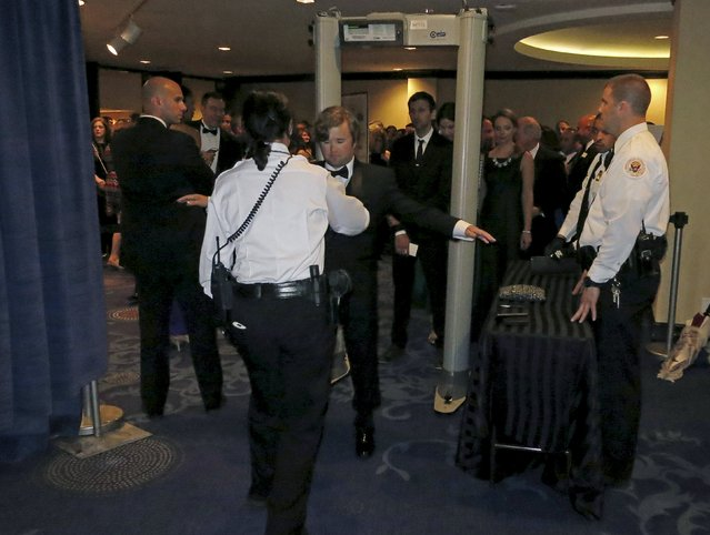 Actor Haley Joel Osment passes through a U.S. Secret Service checkpoint as he heads in to the 2015 White House Correspondents' Association Dinner in Washington April 25, 2015. (Photo by Jim Bourg/Reuters)