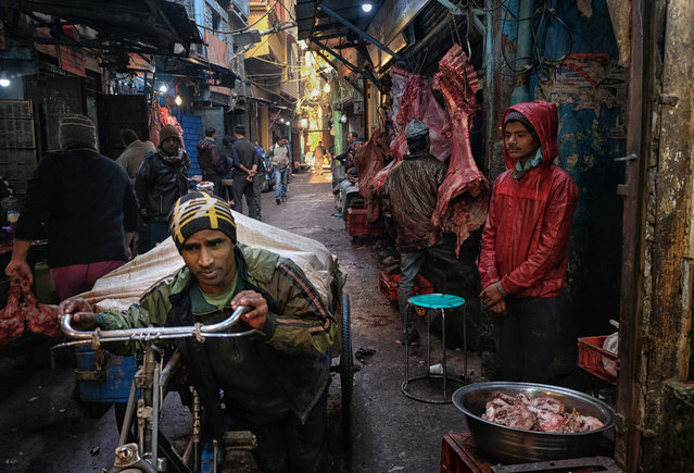 An Indian labourer pulls buffalo meat on his cycle-rickshaw as butchers wait for customers at a meat market in the old quarters of New Delhi on January 16, 2019. (Photo by Noemi Cassanelli/AFP Photo)