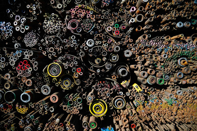 Steel products are pictured stacked at a steelworks in Seoul January 28, 2014. (Photo by Kim Hong-Ji/Reuters)