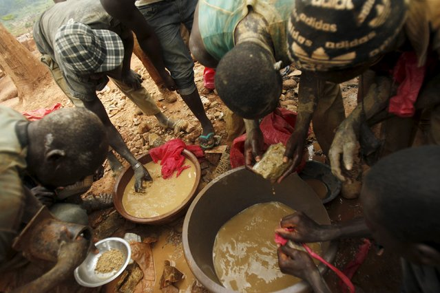 Gold prospectors are seen at a gold mine near the village of Gamina, in western Ivory Coast, March 16, 2015. (Photo by Luc Gnago/Reuters)