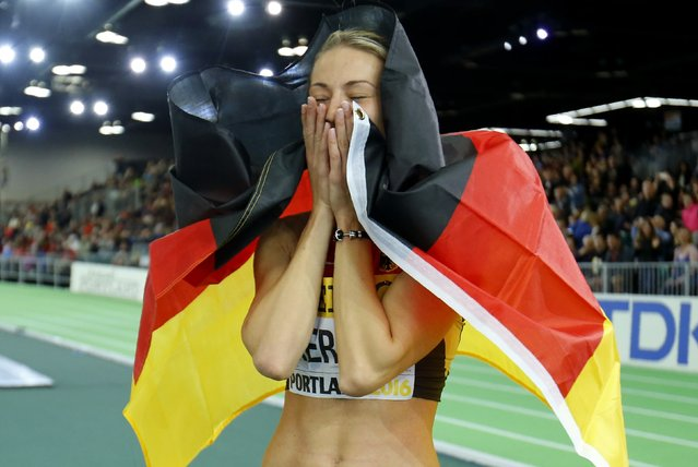 Bronze medalist Kristin Gierisch of Germany celebrates after the women's triple jump at the IAAF World Indoor Athletics Championships in Portland, Oregon March 19, 2016. (Photo by Mike Blake/Reuters)