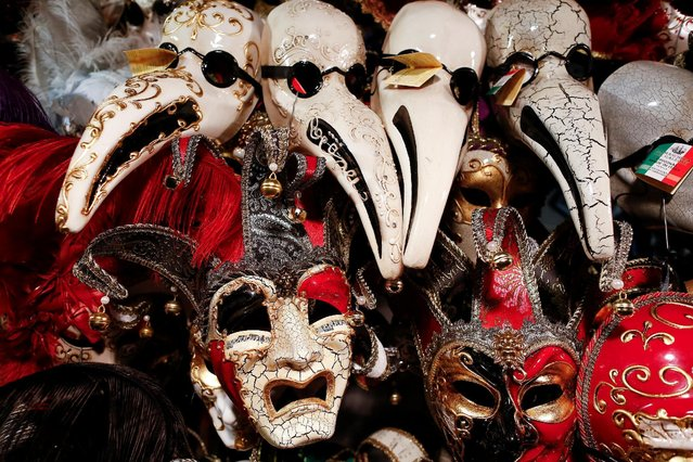 Masks are dispayed in a shop in downtown Venice, Italy February 10, 2017. (Photo by Tony Gentile/Reuters)