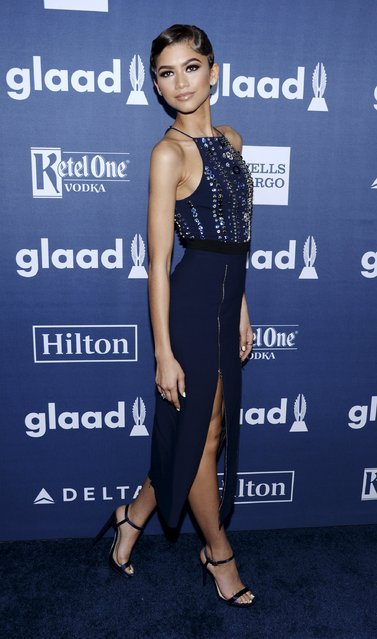 Zendaya attends the 27th annual GLAAD Media Awards in Beverly Hills, California April 2, 2016. (Photo by Phil McCarten/Reuters)