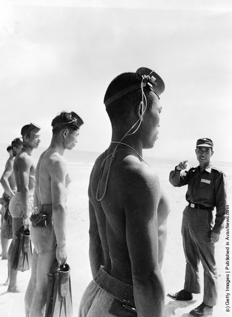 1961: A line of Nationalist Chinese Frogmen, who form the 'Silent Service' of the Quemoy Defence Command, wearing army shorts and holding pairs of fins are briefed by one of their commanding officers on a Quemoy beach