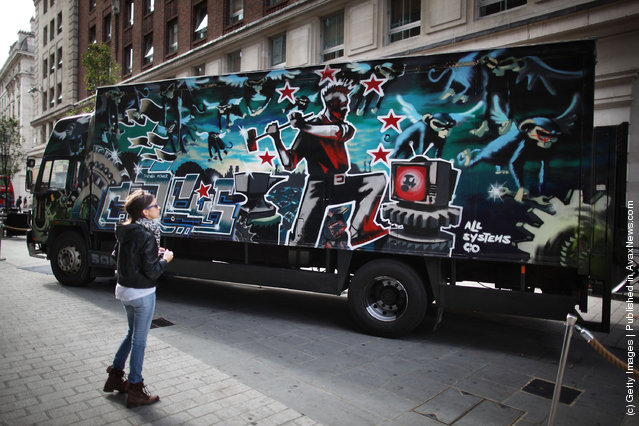 A Banksy decorated truck