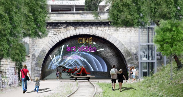 This computer image provided Monday March 17, 2014 by the Press Office of socialist candidate to Paris Mayor Anne Hidalgo, shows a tunnel of abandoned railway from the 19th century, now ramshackle and overgrown, turned into a cinema. Hidalgo's plan envisions not just a green space but in the tunnels, places for farming fish and mushrooms. (Photo by AP Photo/Anne Hidalgo's Press Office)