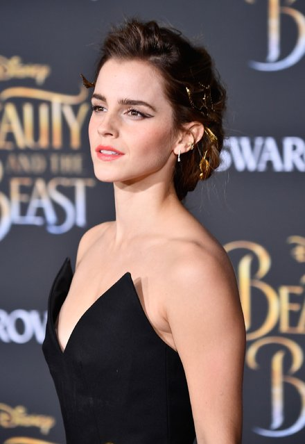 "Actress Emma Watson attends Disney's ""Beauty and the Beast"" premiere at El Capitan Theatre on March 2, 2017 in Los Angeles, California. (Photo by Frazer Harrison/Getty Images)"