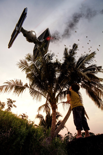 Tie fighters fly over the rice fields of Malaysia. (Photo by Zahir Batin/Mercury Press)