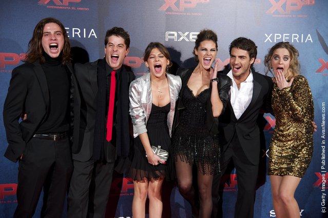 Actors Oscar Sinela, Luis Fernandez, Ursula Corbero, Amaia Salamanca, Maxi Iglesias and Alba Ribas attend XP3D premiere
