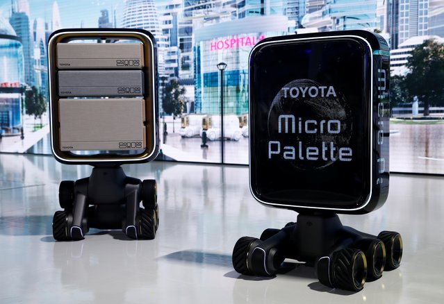 Toyota's Micro Palette delivery robots are showcased at the Tokyo Motor Show, in Tokyo, Japan on October 23, 2019. (Photo by Edgar Su/Reuters)
