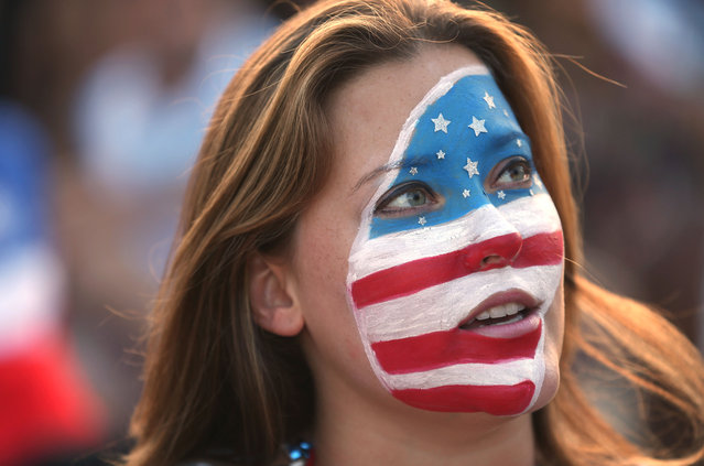 A USA soccer fan waits for their team's game against Portugal at the FIFA Fan Fest on Copacabana beach June 22, 2014 in Rio de Janeiro, Brazil. (Photo by Joe Raedle/Getty Images)
